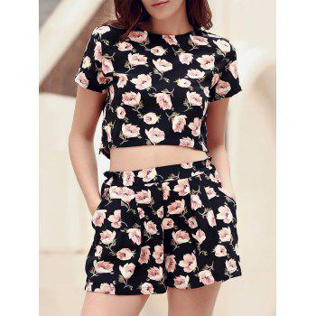Stylish Floral Print Crop Top + Pocket Deisgn Shorts Women's Twinset