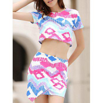 Stylish Short Sleeve Argyle Print Crop Top and Mini Skirt Women's Suit