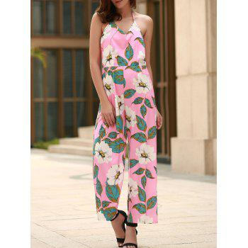 Stylish Halter Floral Print Backless Women's Jumpsuit