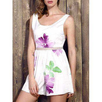 Stylish Scoop Neck Sleeveless Floral Wide Leg Women's Romper