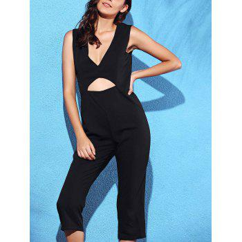 Stylish Plunging Neck Sleeveless Black Hollow Women's Jumpsuit