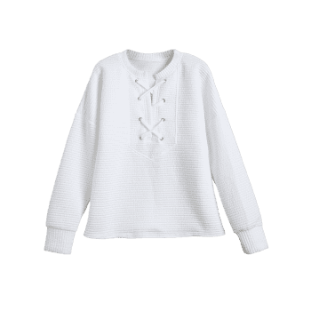 Lace Up Sweatshirt - WHITE XL