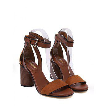 Faux Wood Heel Ankle Strap Sandals - BROWN 35