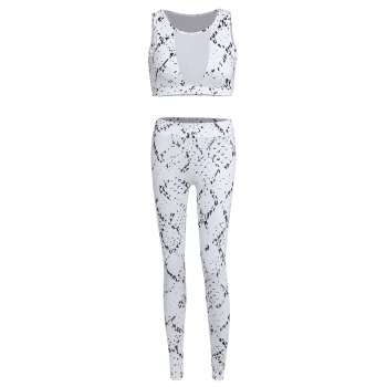 High Waist Skinny Mesh Spliced See-Through Sport Suit - WHITE M