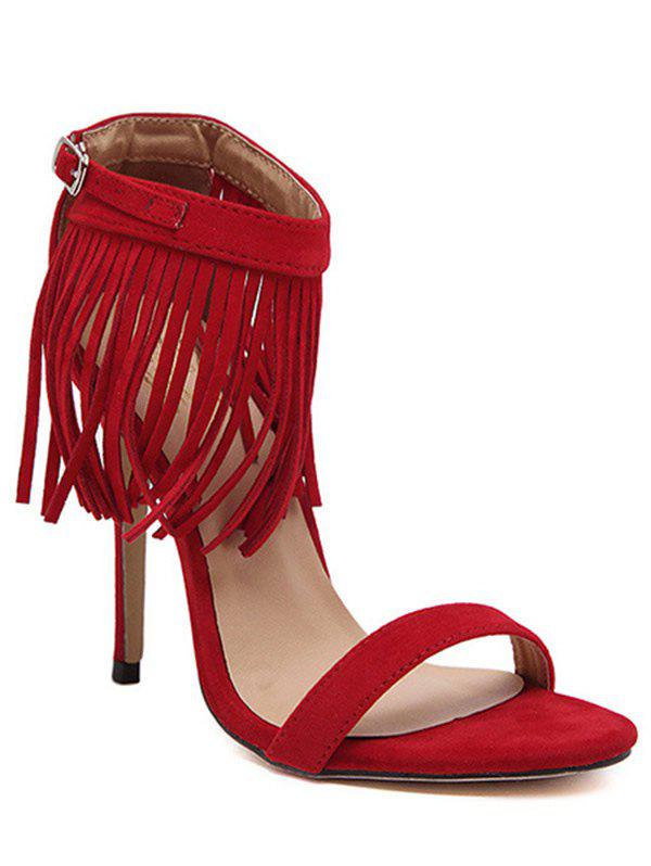 Trendy Fringe and Stiletto Heel Design Sandals For Women