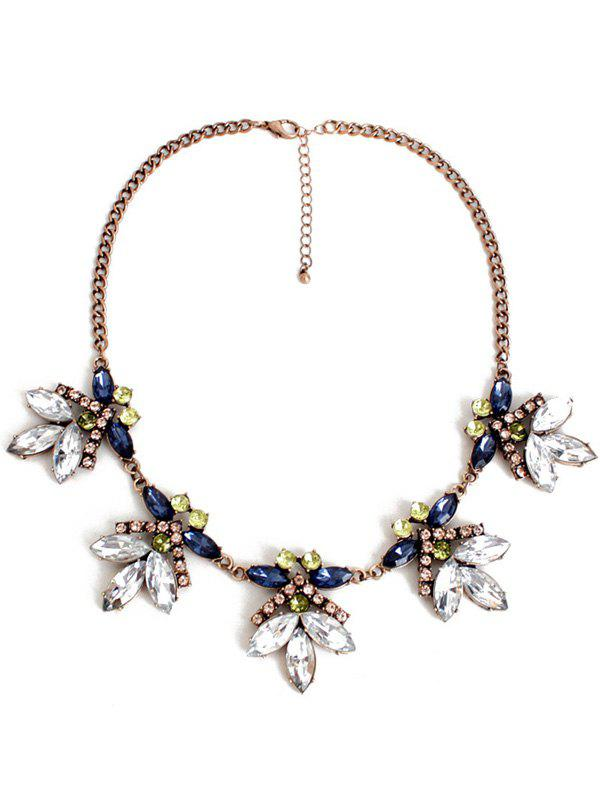 Retro Floral Faux Crystal Necklace - COPPER COLOR