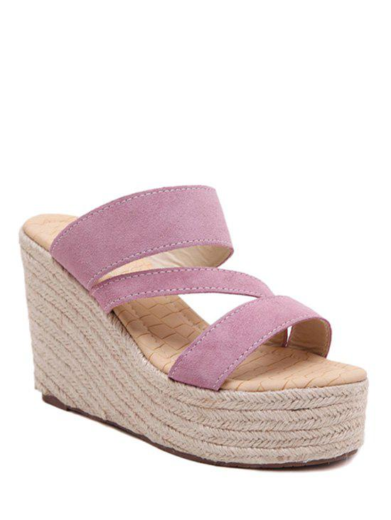 Trendy Weaving and Wedge Heel Design Slippers For Women trendy weaving and gradient color design wallet for women
