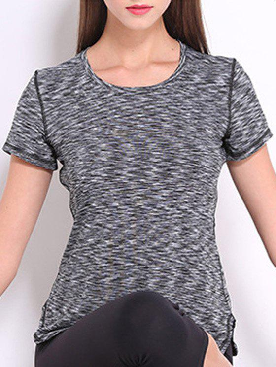 Trendy Round Neck Short Sleeves Candy Color Sport Women's Tee - GRAY M