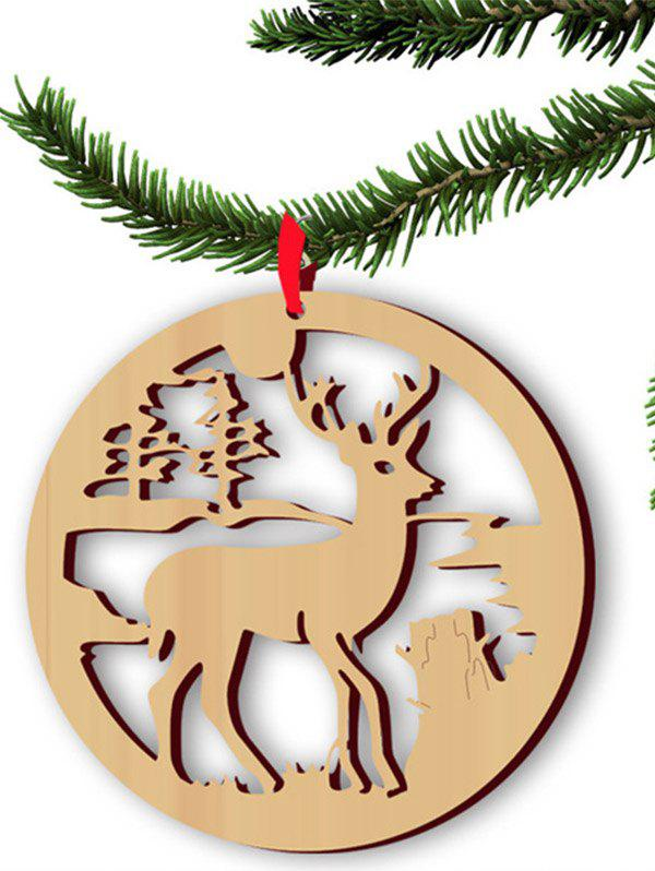 Christmas Tree Decoration 5PCS Wooden Hollow Out Deer Hangers - WOOD