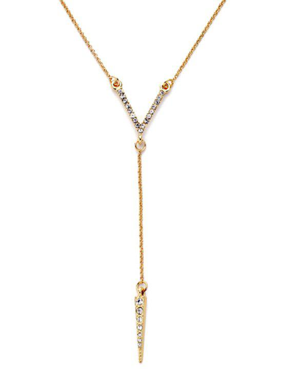 Bullet Rhinestone Pendant Necklace - GOLDEN