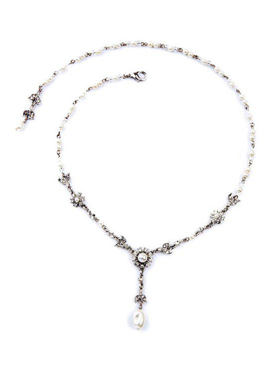 Alloy Faux Pearl Decorated Necklace - SILVER