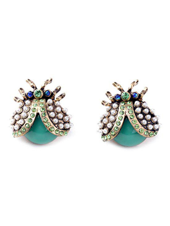 Pair of Faux Pearl Rhinestone Ladybug Earrings - COLORMIX