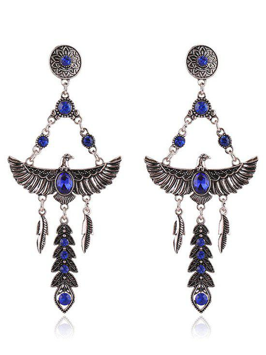 Pair of Eagle Faux Crystal Decorated Earrings - SAPPHIRE BLUE