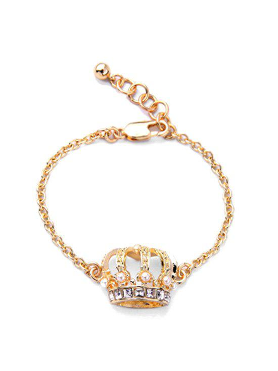 Crown Shape Faux Pearl Rhinestone Bracelet - GOLDEN