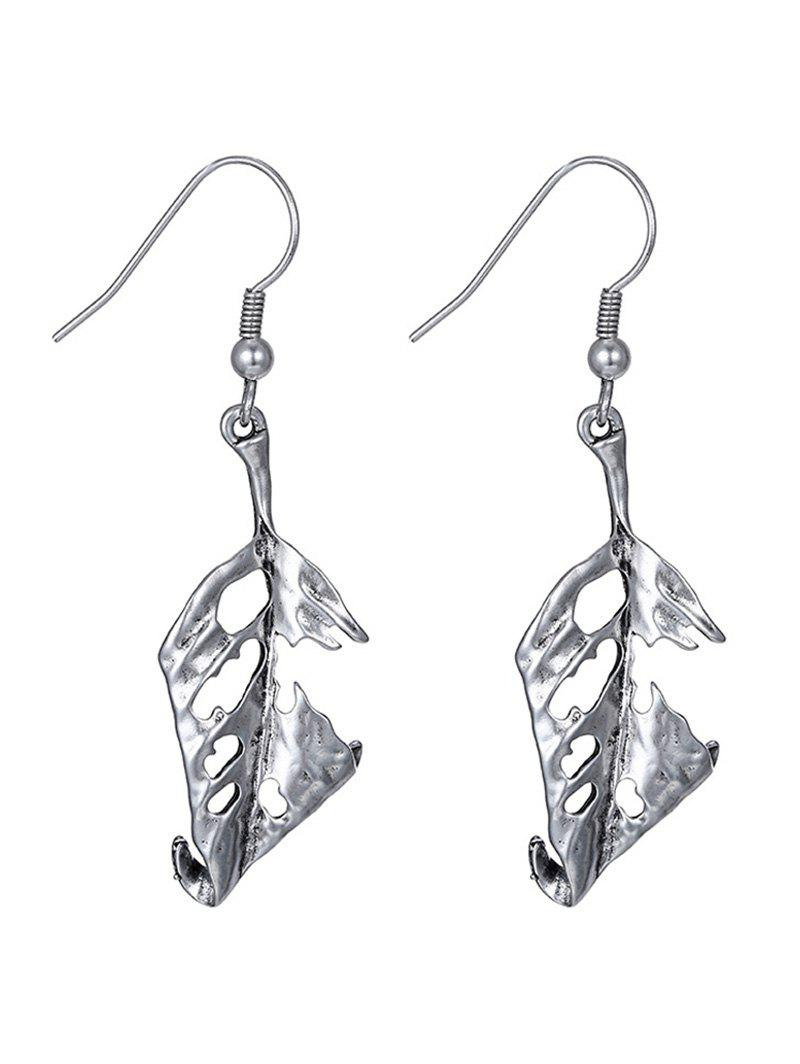 Leaf Hollow Out Drop Earrings - SILVER