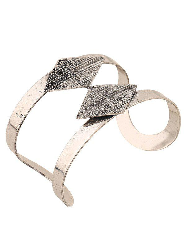 Rhombus Carving Cuff Bracelet - SILVER