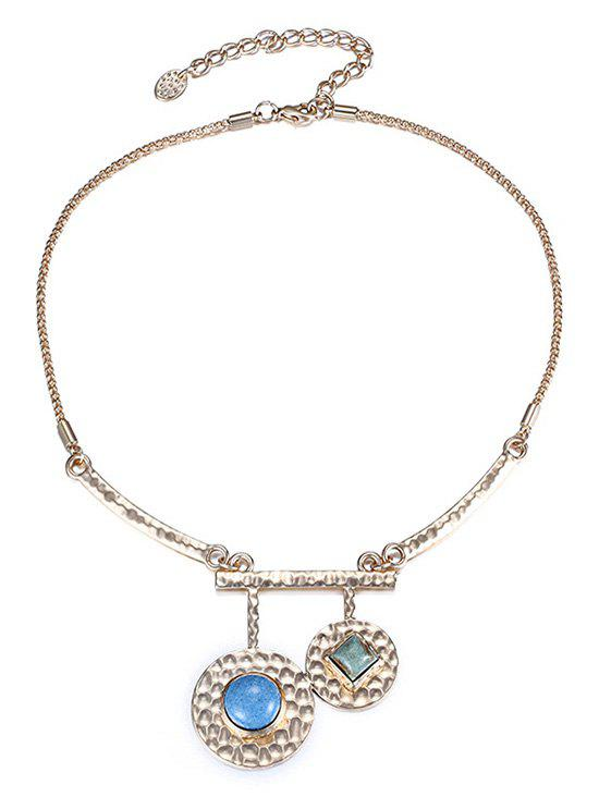 Stylish Stone Decorated Round Necklace For Women - GOLDEN