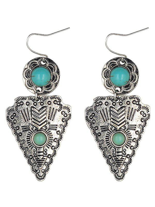 Triangle Pendant Faux Turquoise Earrings - SILVER