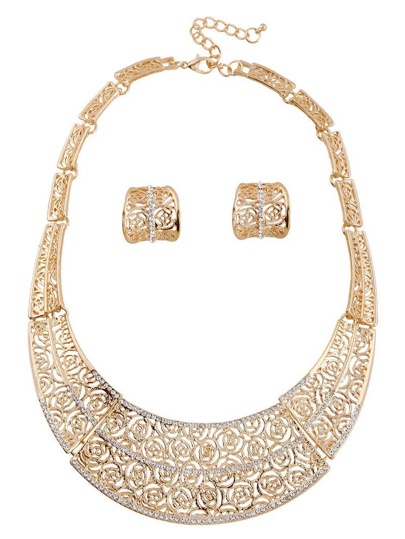 A Suit of Hollow Out Rose Necklace and Earrings - GOLDEN