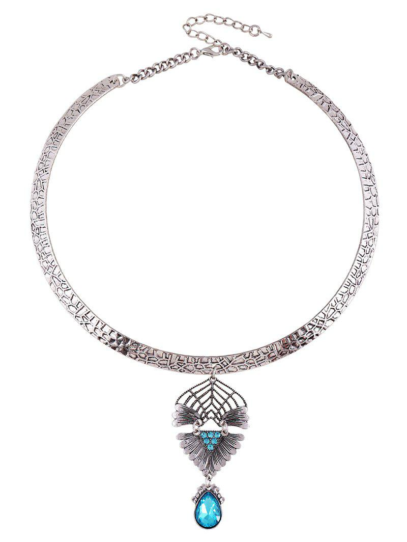 Teardrop Faux Crystal Decorated Torque Necklace - PEACOCK BLUE