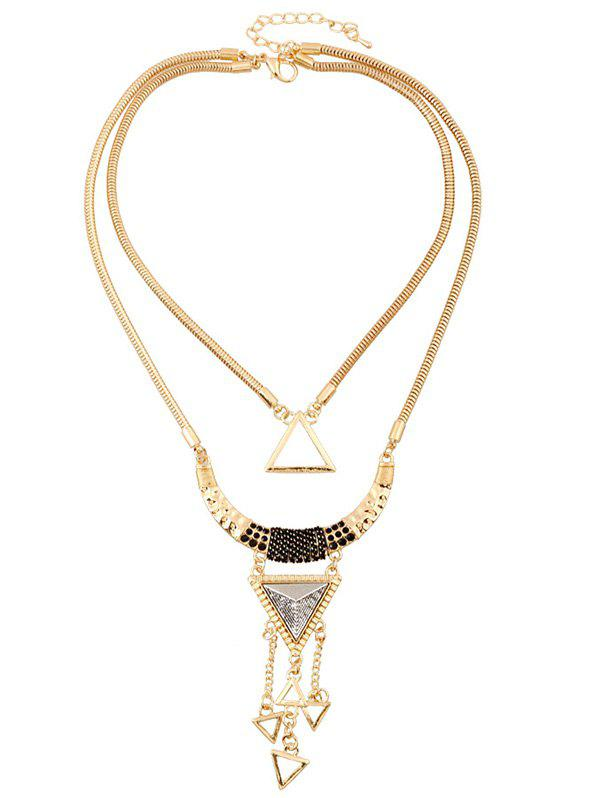 Triangle Hollow Pendant Necklace - GOLDEN