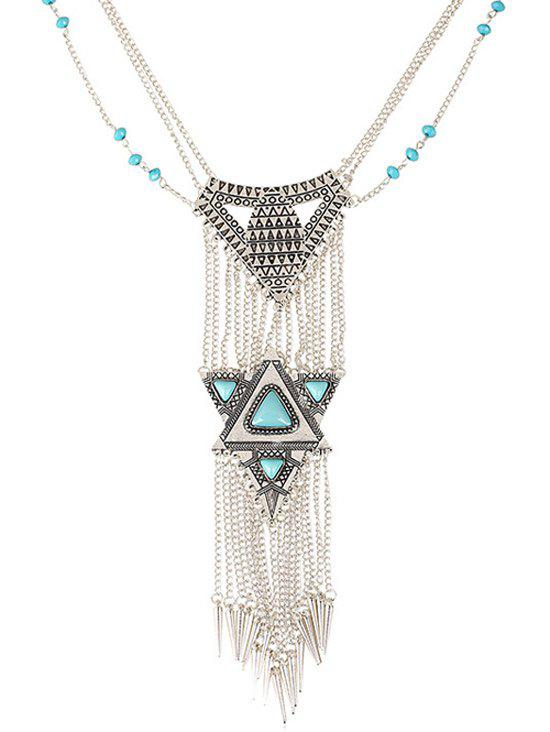 Triangle Faux Turquoise Tassel Necklace - SILVER