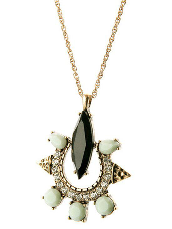 Rhinestone Faux Gemstone Necklace - GOLDEN