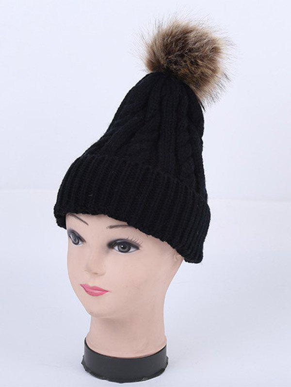 Stripy Cable Knit Pom Hat - BLACK