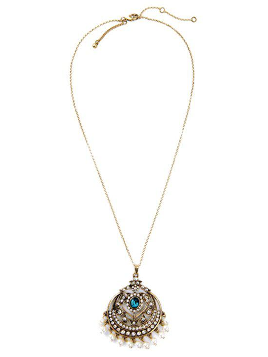 Vintage Hollow Out Round Pendant Necklace - GOLDEN