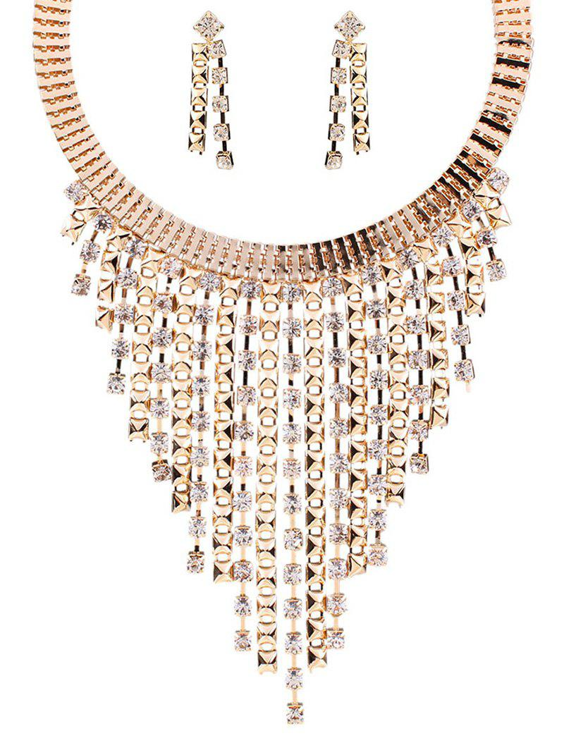 A Suit of Rhinestone Fringed Necklace and Earrings - GOLDEN