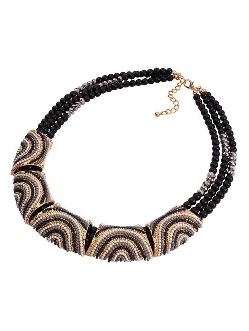 Stylish Bohemia Resin Bead Necklace For Women - BLACK