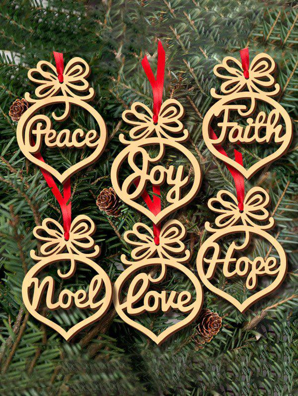 Christmas Decoration 6PCS Wooden Hollow Out Hangers Pendants - WOOD