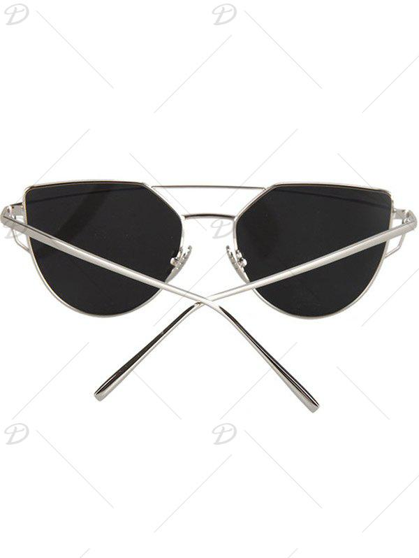 Fashion Metal Bar Silver Frame Sunglasses For Women - SILVER
