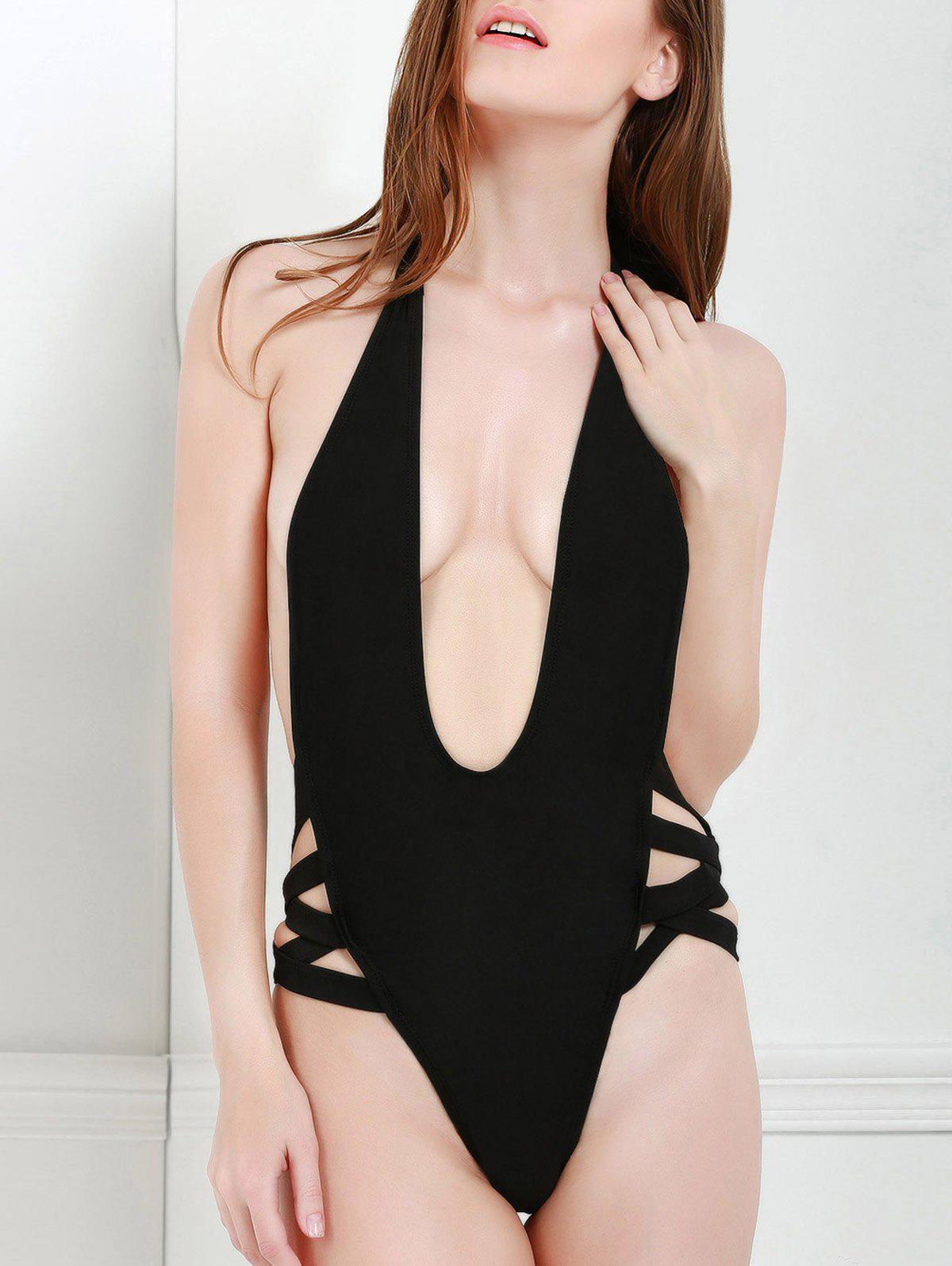 Sexy Style Halter Solid Color Openwork One-Piece Swimwear For Women - BLACK M