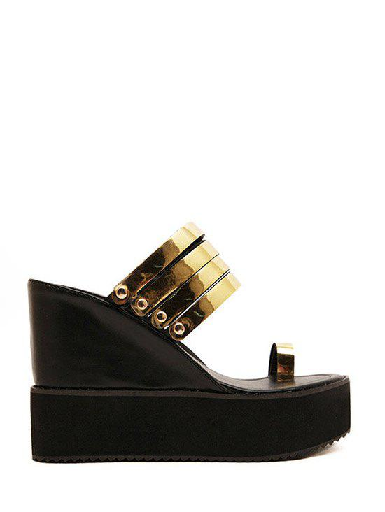 Leisure Toe Ring and Wedge Heel Design Slippers For Women
