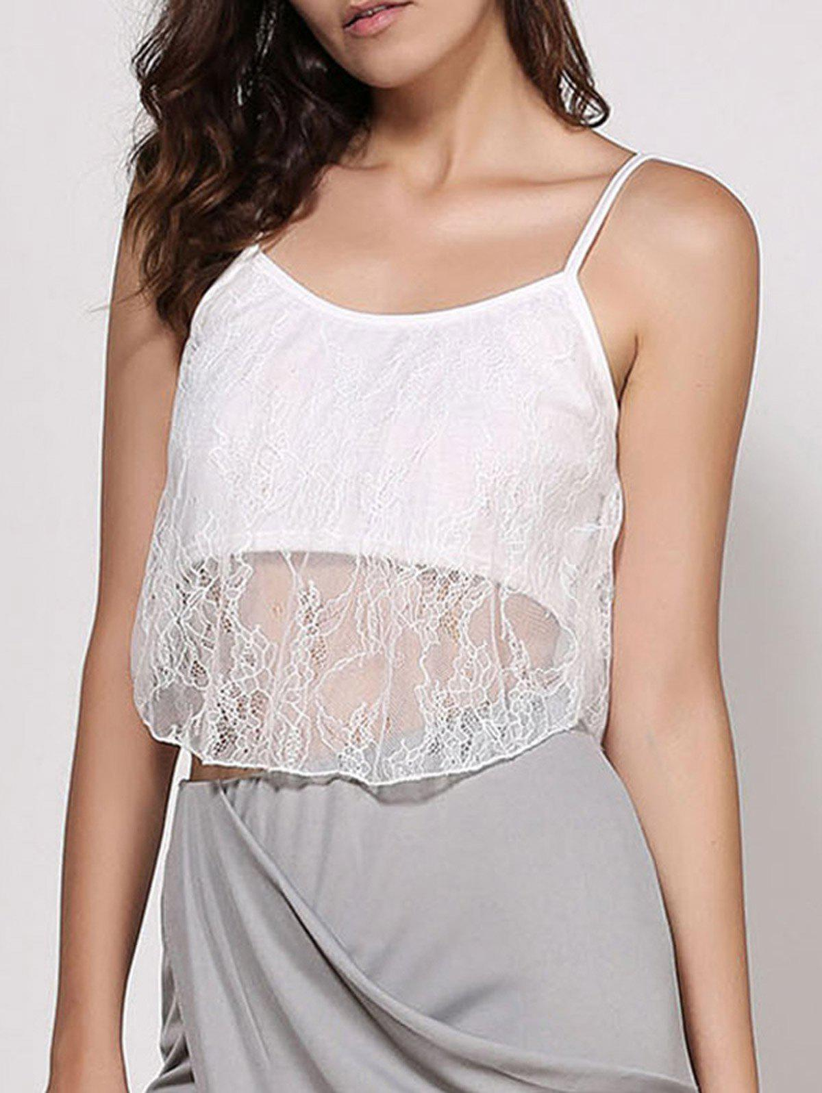 Spaghetti Strap White Lace Crop Top - WHITE L