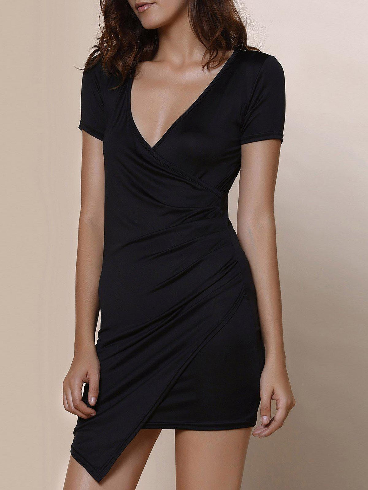 Plunging Collar Short Sleeve Solid Color Bodycon Dress - BLACK S