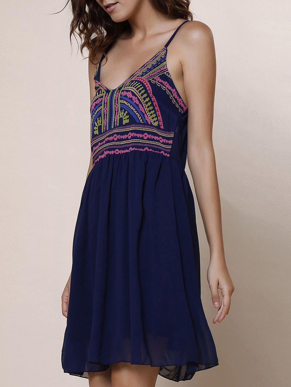 Spaghetti Strap Color Block Print Sleeveless Dress - PURPLISH BLUE S