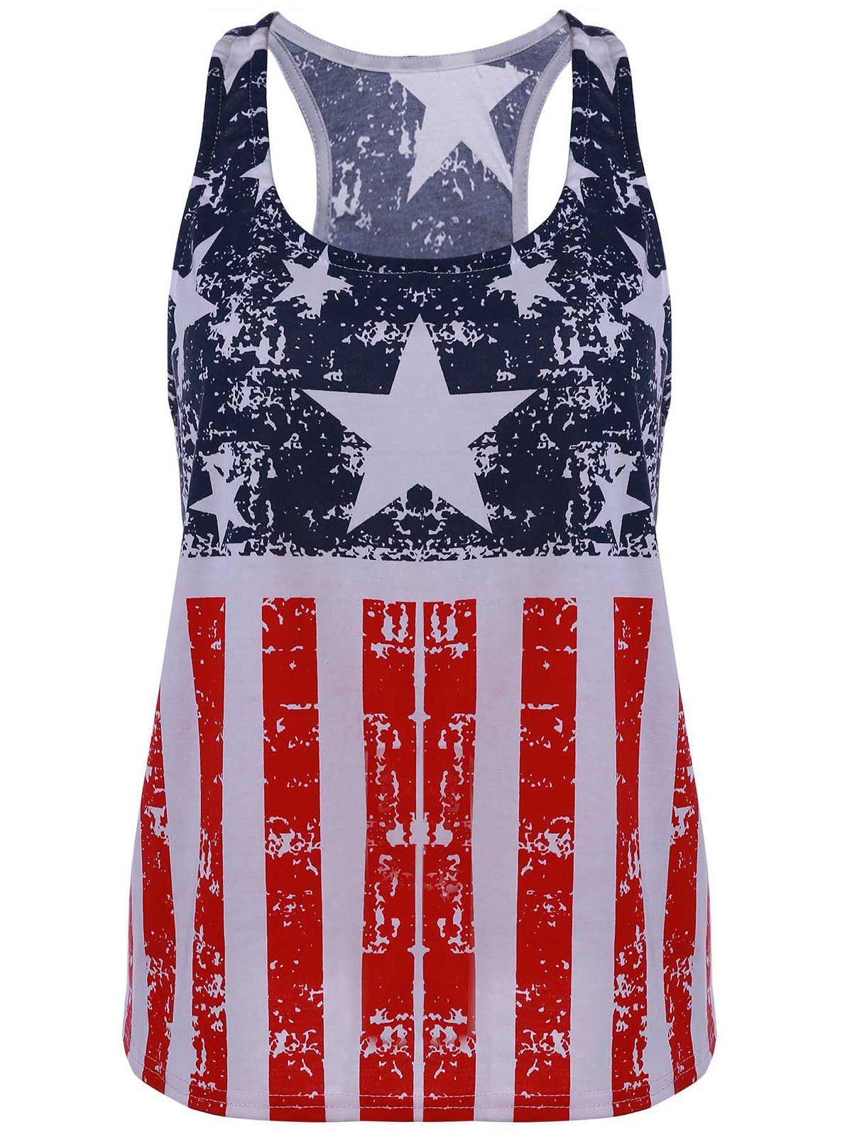 Scoop Neck American Flag Print Patriotic Tank Top - BLUE/RED M