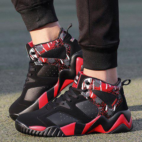 Colour Block Breathable Athletic Shoes - RED/BLACK 40
