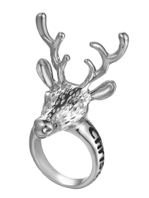 Christmas Deer Letter Ring - SILVER