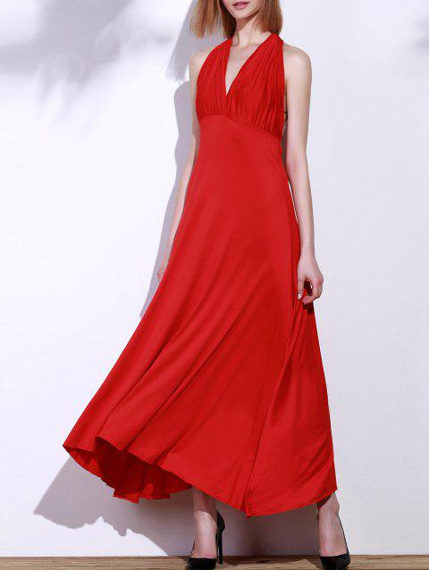Backless Party Formal Halter Maxi Prom Evening Dress - RED S