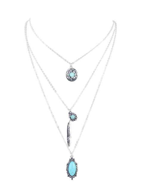 Bohemian Faux Turquoise Layered Pendant Necklace - SILVER