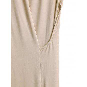 Draped Side Slit Midi Tank Dress - OFF WHITE L