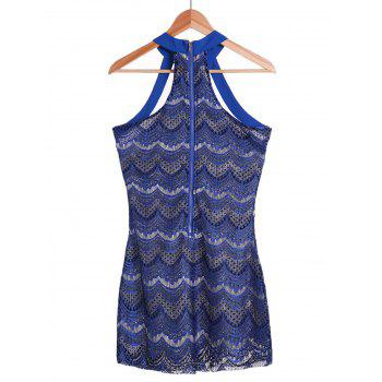 Sleeveless Halter Bodycon Scalloped Lace Dress - SAPPHIRE BLUE L