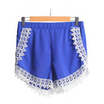 Elastic Waist Lace Spliced Blue Shorts