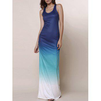 Buy Scoop Neck Sleeveless Ombre Color Maxi Sundress BLUE