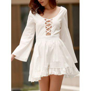 Scoop Neck Lace Up Cutout Long Sleeve Romper