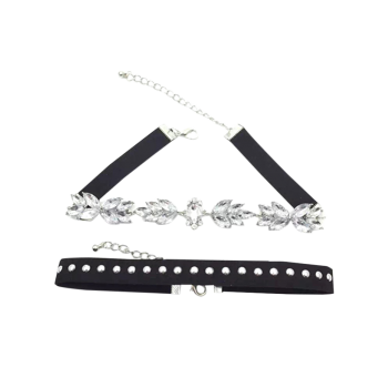 Rhinestone Flower Double-Deck Chokers