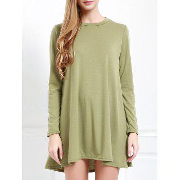 Jewel Neck Long Sleeve Hollow Back Swing Dress